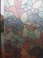 1.5M X 45CM DC FIX STATIC CLING FLOWERS RED GREEN STAINED GLASS WINDOW EFFECT STICKY BACK